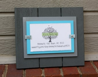 Wood Picture Frame - Holds a 4x6 Photo - Double Mats - Dark Gray, Light Gray & Blue