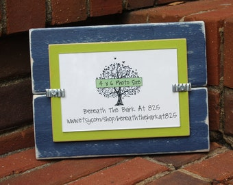 Distressed Wood Picture Frame - Holds a 4x6 Photo - Navy Blue & Lime Green