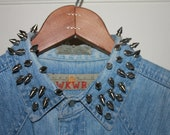 VINTAGE ANCHOR BLUE: Spike Collar Sleeveless Denim Vest Snap Button Shirt