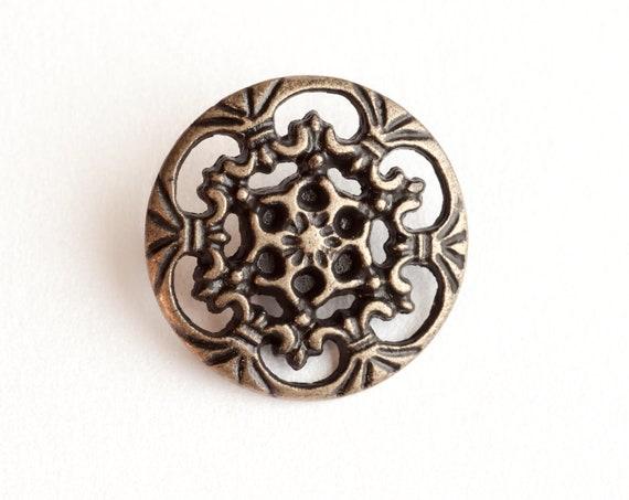 6 Vintage, Antiqued Gold Tone Metal Shank Buttons,  Beautiful Openwork Motif.   Item 0070