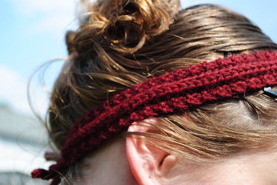 Reversible Wool Headband, Hand-Knit in Burgundy