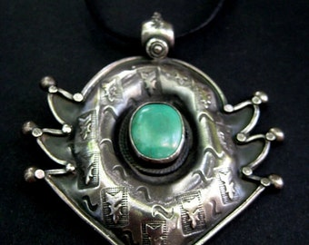 Tribal Vintage South India Pendant. Sterling Silver. Turquoise.