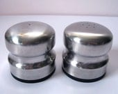 Vintage DANISH Salt and Pepper Shakers / Stainless Steel / Modern / Minimal / 1970s / Mod Kitchen / Retro