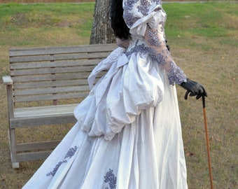 Silver,Crystal Guns,Victorian,Bustle,Gothic,Steampunk,Vintage, wedding dress, Gown,Renaissance, Wedding dress, gown Silver