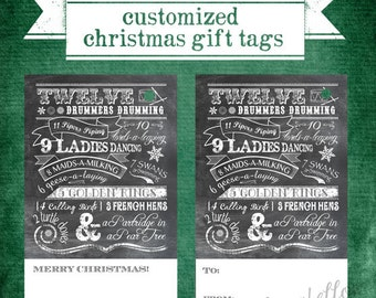 Customized Printable Christmas Gift Tags - Twelve Days of Christmas - Chalkboard Look - Digital File Only