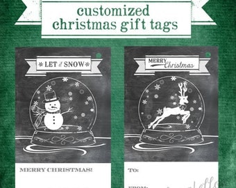 Customized Printable Christmas Gift Tags - Snowman and Reindeer Snowglobes - Chalkboard Look - Digital File Only
