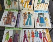 Vintage 1970s Sewing Patterns, Lot of 8, Junior Sizes
