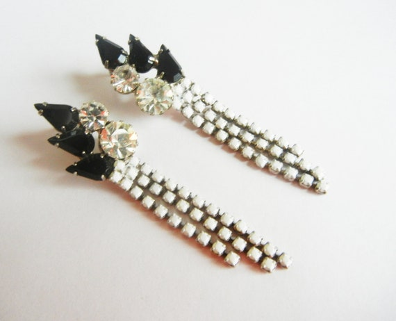 Vintage 1950s One Of A Kind  Hand Painted White and Black Rhinestone Dangle Earrings by Love Obsessed