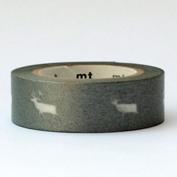 Masking Tape roll silver and white reindeer KMMT-MKTX9-C