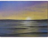 Original Seascape Oil Painting, Minimalist Purple Ocean Painting, Contemporary Art on Canvas, 6 x 8, Lost at Sea