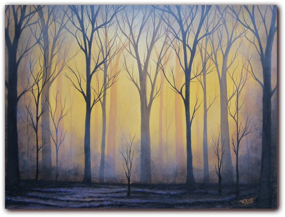Original Forest Oil Painting Contemporary Dark Art On Canvas