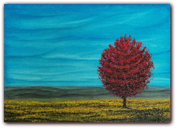 Original  Landscape Oil Painting, Contemporary Landscape Painting, Sky Blue Sky Canvas Art Home Decor, 5 x 7 x 1.5, The Wild Blue