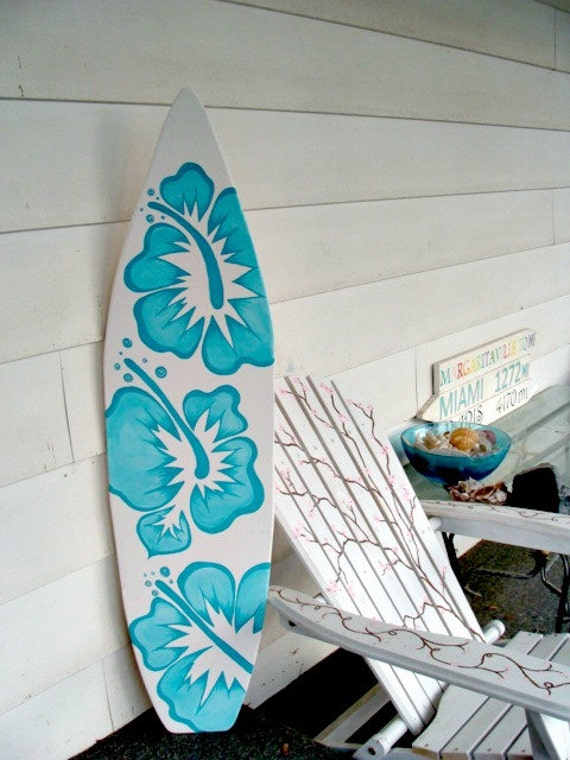 4 foot wood hawaiian surfboard wall art decor or headboard for Surf decoration