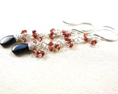 Sterling Silver Dangle Earrings Back Spinel Red Garnet Wire Wrapped Gemstone Briolettes