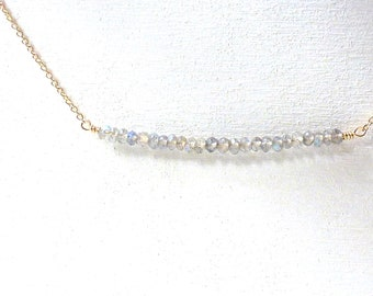 Labradorite Bar Necklace Grey Gemstone Gold Filled Beaded Jewelry