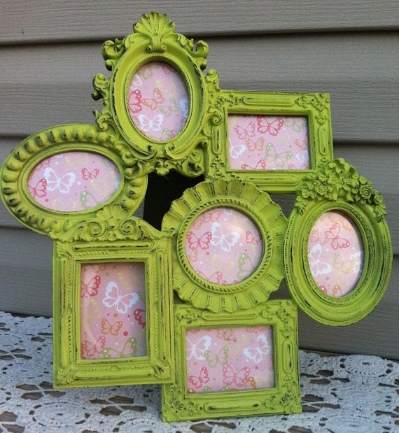 Lime Green French Frame Cluster / Frame Collage / Wall Frame