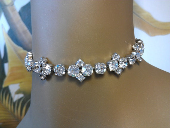 RESERVED for EVWI/Rhinestone Linked Charm CHOKER Silver Tone Large Round & Small Round Clear Four-pronged Stone Necklace 14 inches
