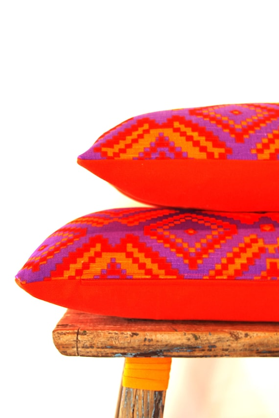 TWO Cushion Covers Limited Edition 5th Avenue Vintage Fabric with Vibrant Orange backing