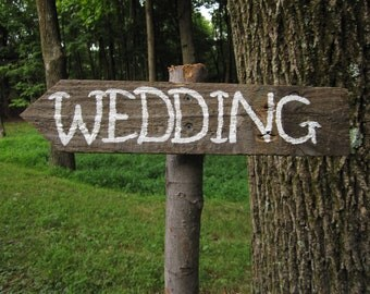 Rustic Wedding Sign, Directional Arrow, Reclaimed Wood