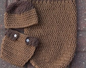 PDF Crochet Pattern Little Acorn Hat, Diaper Cover and Cocoon set Hat sizes-baby, toddler, child, adult