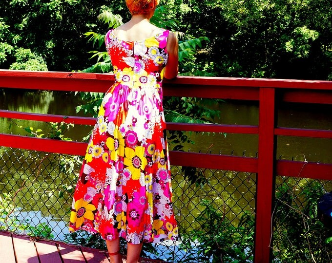 Floral Sundress SMALL MEDIUM 1970s Tea Length Party Dress Sleeveless Pink Yellow White Bold Flowers Empire Waist Full Skirt Midi Maxi Dress