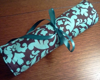 Turquoise and Chocolate Brown Damask Polka Dot Travel Jewelry Roll