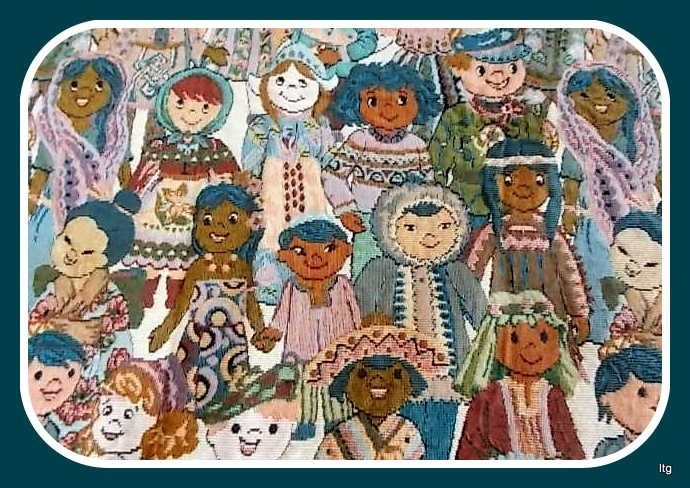 Sale vintage children of the world teal tapestry fabric for Children of the world fabric