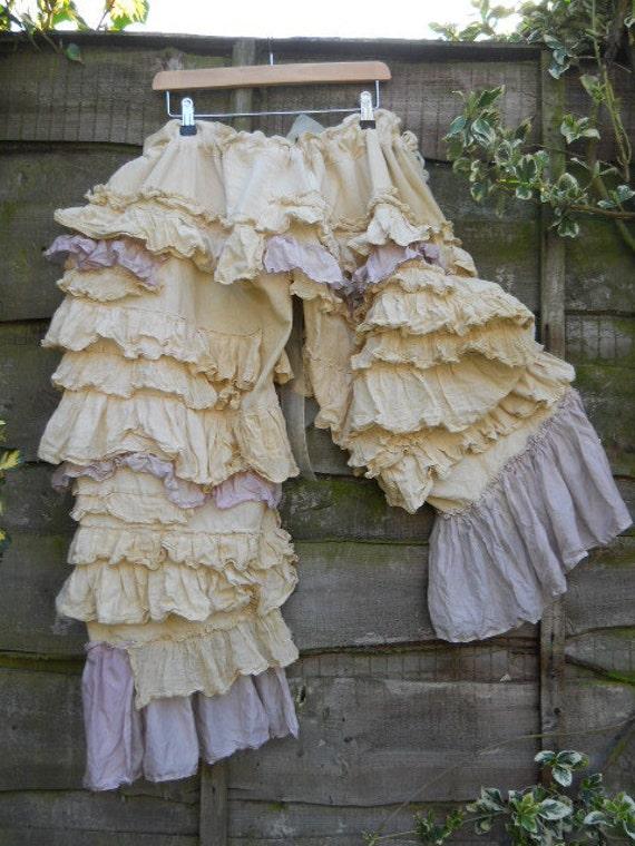 RITANOTIARA Victorian Romantic Frill Ott Uk Art to wear folkwear Lagenlook Rose Pearl Bloomers Cotton Linen & Silk Rodeo Prairie look OSFA