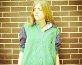 SALE Vintage Tommy Hilfiger Boyfriend Oversized Button Up Blouse Shirt Green Blue Color Block