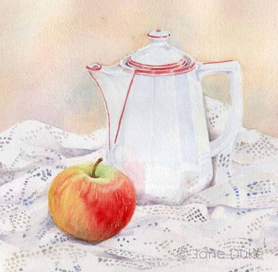 Original Watercolour Still Life Painting Teapot, Apple and Lace unframed sale price