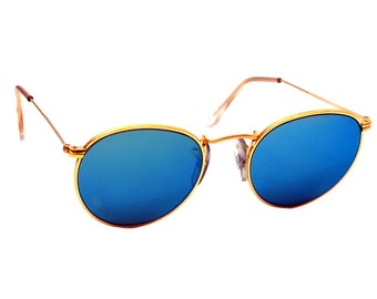 Vintage Ray Ban Bausch and Lomb  Blue Mirror  Gold Round Sunglasses