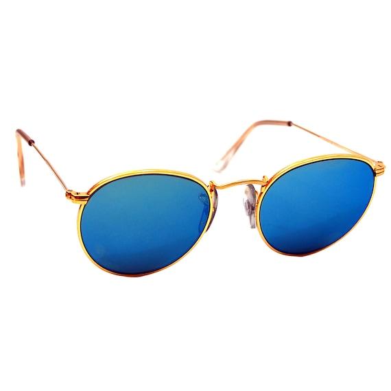 Vintage ray ban bausch e lomb blu specchio oro occhiali da - Occhiali specchio blu ...