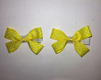 Yellow Polka Dot Hair Clip