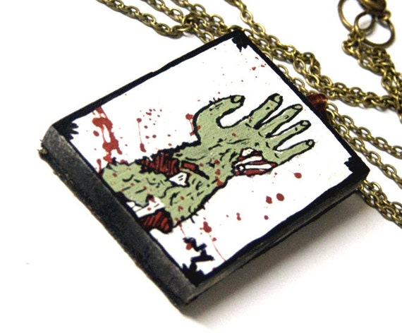 Zombie necklace, halloween pendant, hand painted jewelry, scary art