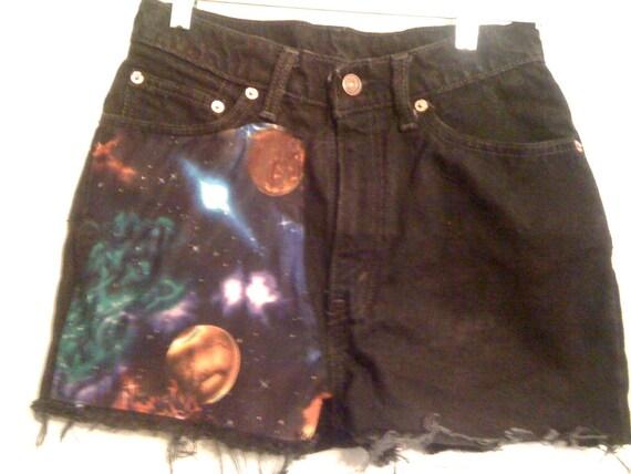 Black Nebula space galaxy High  Waisted Shorts 27 inches