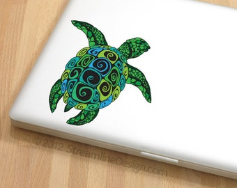 Ornate Sea Turtle Vinyl Laptop or Automotive Art FREE SHIPPING nautical notebook sticker netbook sticker computer laptop decal turtle art