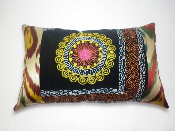 Buglem /  Embroidered Suzani Velvet and silk-cotton Pillow Cover - 14,20x22,60 inch free shipment