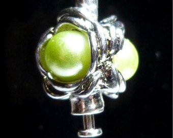 Peridot  Faux Pearl Threaded Stopper Bead For European Style Charm Bracelet - Silver Plated