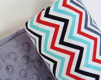 Baby Blanket, Celebration Chevron with Your Choice of  Minky