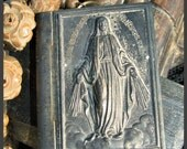 Incredible Tin Book and Madonna Rosary Necklace
