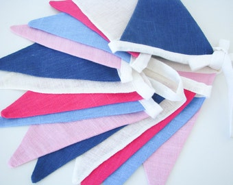 Bunting / Fabric Flag Banner / Pennant Nursery / Porch / Patio Decor / Photo Prop / Blue / Pink / White