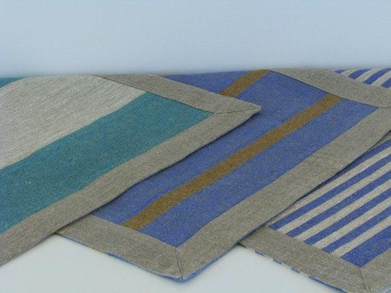 Linen Bath Mat Bath Rug Striped Blue Green Brown Or