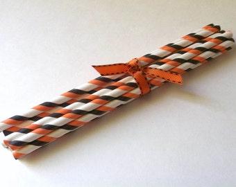 12 Orange and Black Straws - Halloween Straws