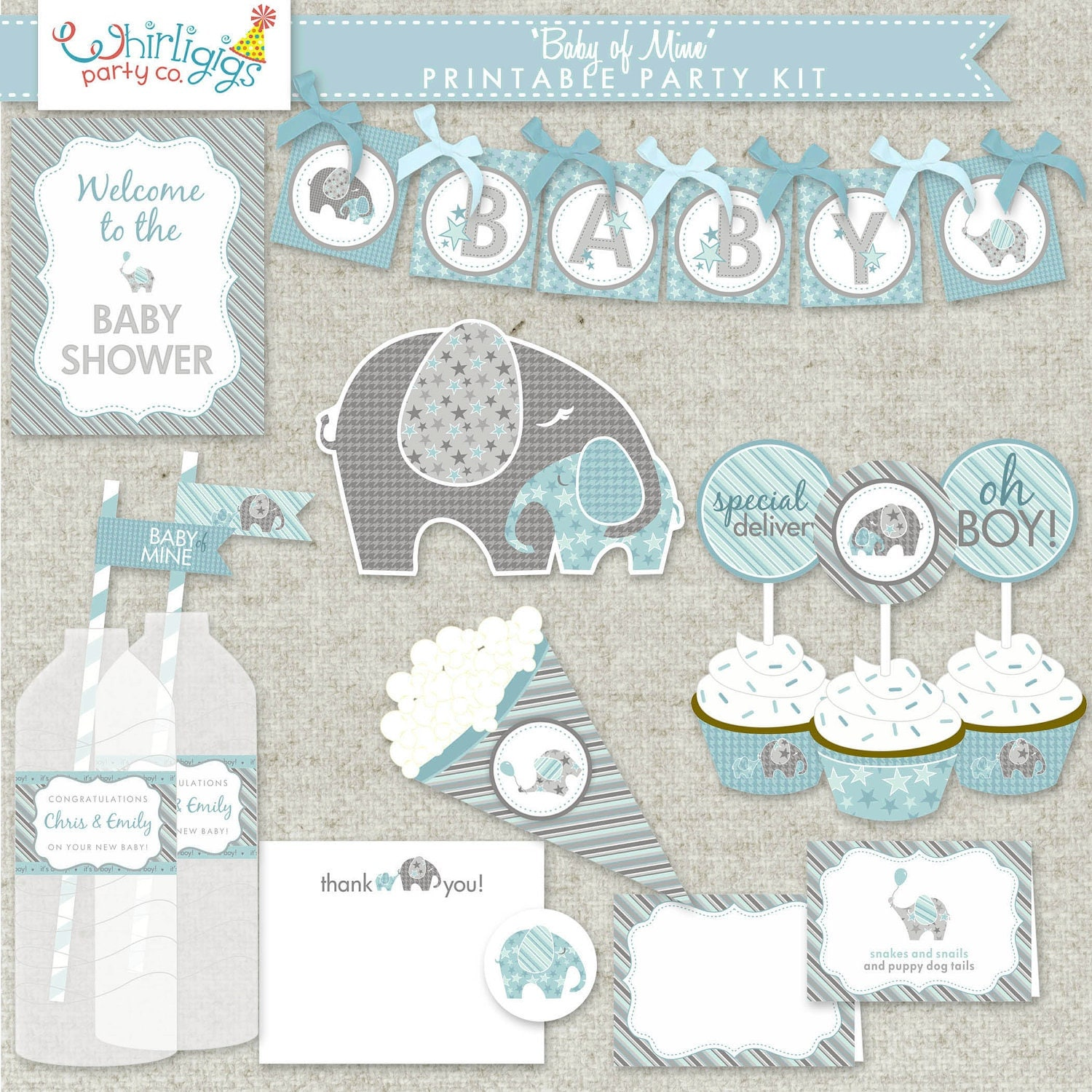 Boy baby shower printable pdf party baby of mine for Baby shower decoration kits boy