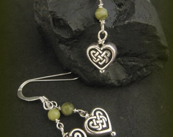 Irish Connemara Marble, Silver Celtic Heart Knot Necklace and Earring Set