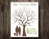 Wedding Tree Guest Book Fingerprint Tree Poster with Silhouette 11X14 Custom Colors, Names, Dates Alternative Guest Book