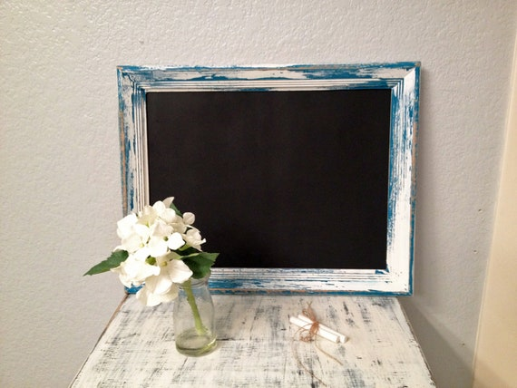 Decorative chalkboard with distressed hand-painted turquoise wooden frame