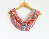Infinity Scarf - Coral Cotton Scarf - Geometric Pashmina Scarf - Tribal Scarf - Lightweight Coral Blue Yellow Scarf - FashionScarf