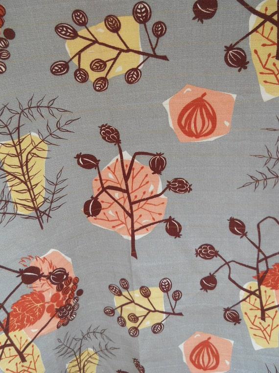 "1940's Gray Nature Barkcloth - 3 Yard, 5"" piece"