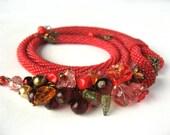 "Bead Crochet Necklace ""Raspberry Jam"""